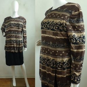 Vintage Dress abstract print brown & black layered